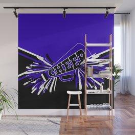 Blue, Black and White Cheerleader Design Wall Mural