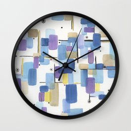 Watercolor Tetris Wall Clock