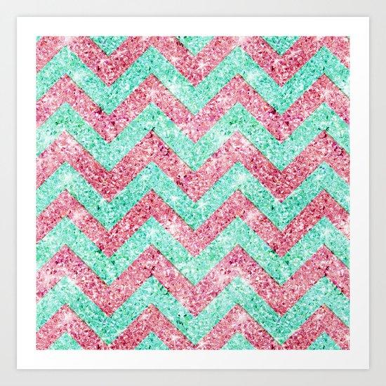 Chevron Pattern, pink & teal glitter photo print Art Print
