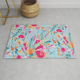 Blossom Pop - Watercolor Floral Pattern / Colorful Florals Light Rug