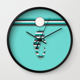 Teal Sea Horse Stripes Animal Design Pattern Wall Clock
