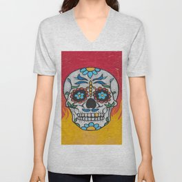 DAY OF THE DEAD - FLAMING RED VOODOO Unisex V-Neck