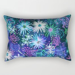 Eden Floral Blue Rectangular Pillow