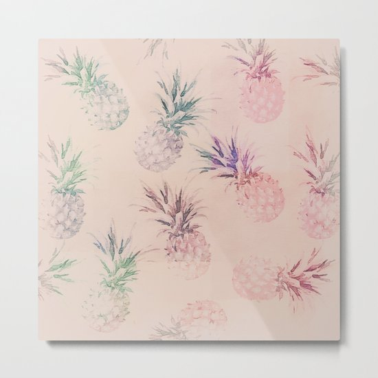 Soft Pastel Pineapple Summe Pattern Metal Print