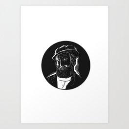 Hernan Cortes Conquistador Woodcut Art Print