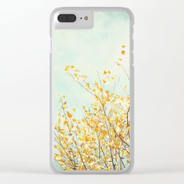Yellow Tree Leaves Mint Sky Photography, Nature Turquoise Teal Gold Aqua Clear iPhone Case