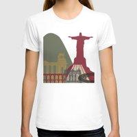 rio de janeiro T-shirts featuring Rio de Janeiro skyline poster by Paulrommer
