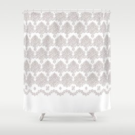 Off-White Damask Chenille with Lace Edge Shower Curtain