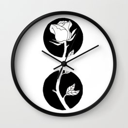 Rose Stem Through Black Circles Design Wall Clock