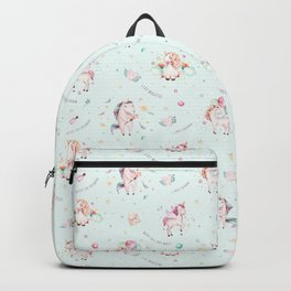 Magical pink teal green watercolor typography unicorn Backpack