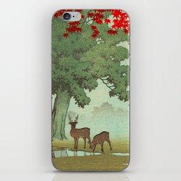 Vintage Japanese Woodblock Print Nara Park Deers Green Trees Red Japanese Maple Tree iPhone Skin