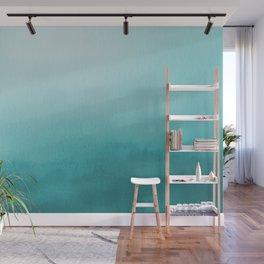 Aqua Teal Turquoise Watercolor Ombre Gradient Blend Abstract Art - Aquarium SW 6767 Wall Mural