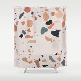 Warm Terrazzo Marble Shower Curtain