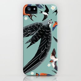 Swallows Martins and Swift pattern Turquoise iPhone Case