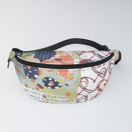 Navy blue, yellow, and pink digital heart abstract design Fanny Pack
