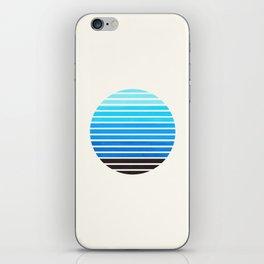 Cerulean Blue Mid Century Modern Minimalist Scandinavian Colorful Stripes Geometric Pattern Round Ci iPhone Skin