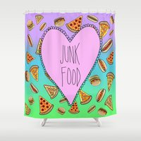 junk food Shower Curtains featuring JUNK FOOD by SteffiMetal