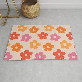 Retro 60s 70s Flowers Pattern #pattern #vintage Rug