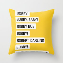 Bobby Messages Throw Pillow