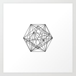 Geometric Crystal - Black and white geometric abstract design Art Print