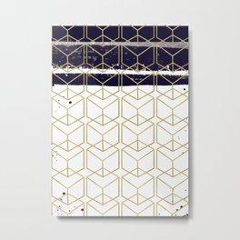 Blue & Gold Hexagon Metal Print