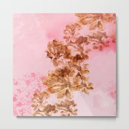 Flowers on a pink backround Metal Print