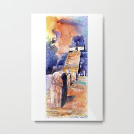 Watercolor painting of Mayan temple and stelae at UNESCO World Heritage ruins of Tikal- Guatemala. Metal Print