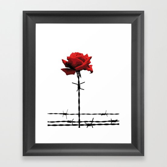 Barbed wire red rose Framed Art Print