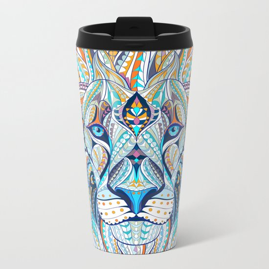 Blue Ethnic Lion Metal Travel Mug