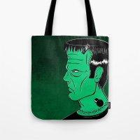 frankenstein Tote Bags featuring Frankenstein by JoanaRosaC