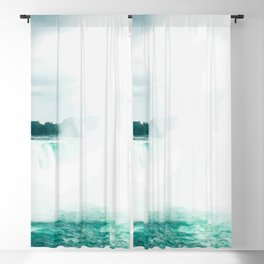 Digital Painting of Misty Niagara Falls on a Slightly Cloudy Day Blackout Curtain