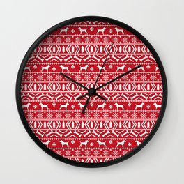 Jack Russell Terrier fair isle christmas sweater dog breed pattern holidays red and white Wall Clock
