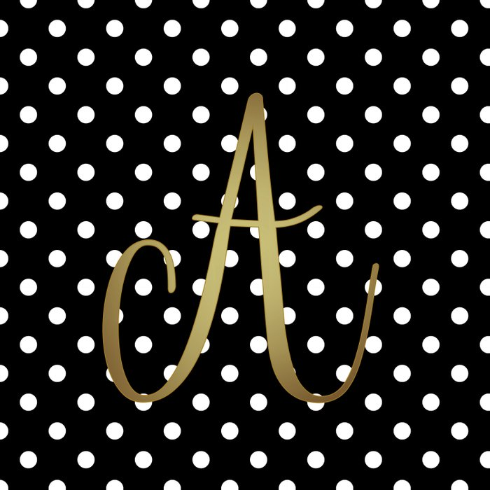 Retro Black And White Polka Dot With Quot A Quot Monogram