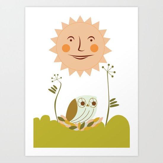 Owl sun Art Print