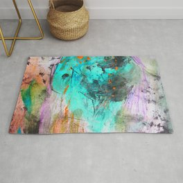 Hand painted teal orange black watercolor Rug