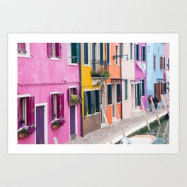 Hot Pink Houses in Burano, Italy Art Print