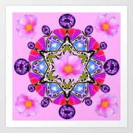 AMETHYST & PINK ROSES BIRTHSTONE MANDALA Art Print