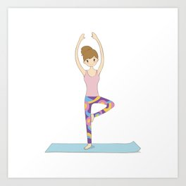 Yoga Girl in Tree Pose illustration Art Print