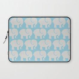 Troop Of Elephants (Elephant Pattern) - Gray Blue Laptop Sleeve
