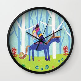 In the Land of Unicorns Wall Clock