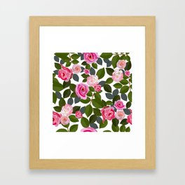 Pink Roses and Leaves Hand Drawn Pattern Framed Art Print