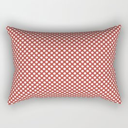 Aurora Red and White Polka Dots Rectangular Pillow