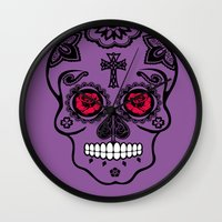 calavera Wall Clocks featuring Calavera by SuperEdu