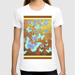 Coffee Brown Celadon Color Butterflies Abstract & Yellow T-shirt