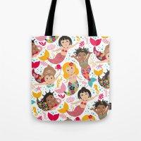 mermaids Tote Bags featuring Mermaids by Helene Michau