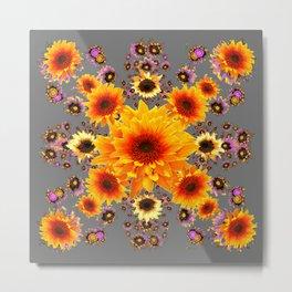 Yellow Sunflowers Floral Pattern Grey Art Metal Print