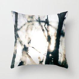 Blurry Trees Throw Pillow