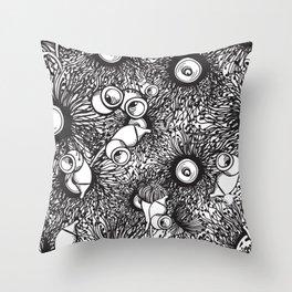 Gumnut & Eucalyptus flowering Black & White Love Throw Pillow