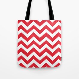 Rose madder - red color - Zigzag Chevron Pattern Tote Bag