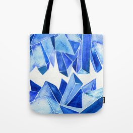 Sapphire Watercolor Facets Tote Bag